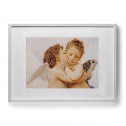 """Copertina di 'Quadro """"Amore e Psiche, bambini"""" con passe-partout e cornice minimal - dimensioni 53x73 cm'"""