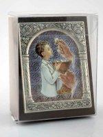 """Immagine di 'Icona in lamina d'argento """"Prima Comunione"""" per bambino - dimensioni 6,5x5,2 cm'"""