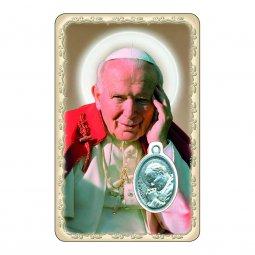 """Copertina di 'Card """"Papa Giovanni Paolo II"""" con preghiera e medaglia - (10 pezzi)'"""