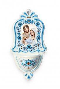 Copertina di 'Acquasantiera in polimero ad effetto ceramica con Sacra Famiglia - altezza 16 cm'