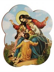 """Copertina di 'Calamita sagomata """"Gesù con i bambini"""" - dimensioni 6x7 cm'"""