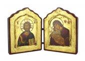 Icona dittico Cristo Pantocratore e Madonna di Vladimir, produzione greca in legno - 20 x 13 cm