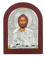 Immagine di 'Icona Cristo Pantocratore con riza resinata color argento - 22 x 17 cm'