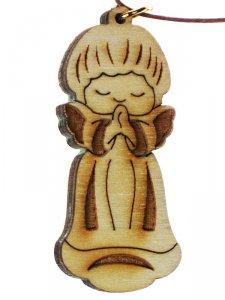 Copertina di 'Piccolo angelo custode in legno con laccio - altezza 5 cm'