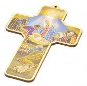 """Croce in legno """"Presepe"""" stile classico - altezza 13 cm"""