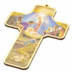 """Copertina di 'Croce in legno """"Presepe"""" stile classico - altezza 13 cm'"""