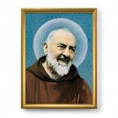 """Quadro """"Padre Pio"""" con lamina oro e cornice dorata - dimensioni 44x34 cm"""
