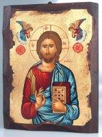 """Icona in legno dipinta a mano """"Gesù Cristo datore di vita"""" - dimensioni 28x21 cm"""