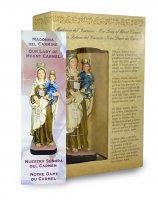Immagine di 'Statua della Madonna del Carmine da 12 cm in confezione regalo con segnalibro in IT/EN/ES/FR'