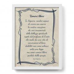 """Copertina di 'Quadro con preghiera """"Uomini liberi"""" su cornice minimal - dimensioni 44x34 cm'"""