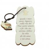 """Segnalibro sagomato con ciondolo """"Comunione e Cresima"""" in legno - dimensioni 15x5cm"""