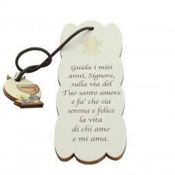 """Copertina di 'Segnalibro sagomato con ciondolo """"Comunione e Cresima"""" in legno - dimensioni 15x5cm'"""
