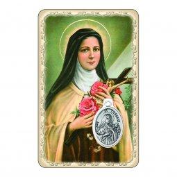 """Copertina di 'Card """"Santa Teresa di Lisieux"""" con preghiera e medaglia - (10 pezzi)'"""