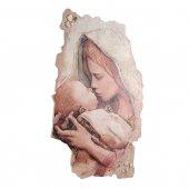 """Immagine di 'Quadro in resina con bordo irregolare """"Madonna col Bambino"""" - dimensioni 43x28 cm'"""