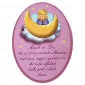 """Icona ovale laccata rosa """"Angelo di Dio"""" per bambini - dimensioni 21x29 cm"""