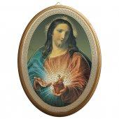 """Icona ovale laccata oro """"Sacro Cuore di Gesù"""" - dimensioni 21,5x16 cm"""