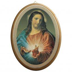 """Copertina di 'Icona ovale laccata oro """"Sacro Cuore di Gesù"""" - dimensioni 21,5x16 cm'"""