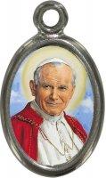 Medaglia Papa San Giovanni Paolo II in metallo nichelato e resina - 2,5 cm