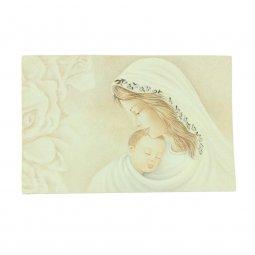 """Copertina di 'Icona curvilinea da appoggio """"Madonna col Bambino"""" e rose - dimensioni 11x16 cm'"""