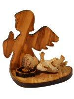 Angelo in ulivo con base e Gesù bambino in resina colorata - altezza 6,5 cm