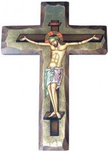 Copertina di 'Crocifisso dipinto su croce in legno e con sfondo oro - altezza 25 cm'