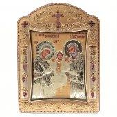 """Icona """"Sacra Famiglia"""" greco ortodossa in legno e argento"""
