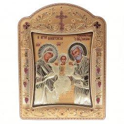 """Copertina di 'Icona """"Sacra Famiglia"""" greco ortodossa in legno e argento'"""