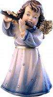 Statuina dell'angioletto con flauto traverso, linea da 10 cm, in legno dipinto a mano, collezione Angeli Sissi - Demetz Deur