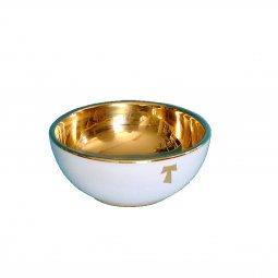 """Copertina di 'Pisside offertorio in ceramica """"Modello Bianco e oro TAU"""" - 14 cm'"""