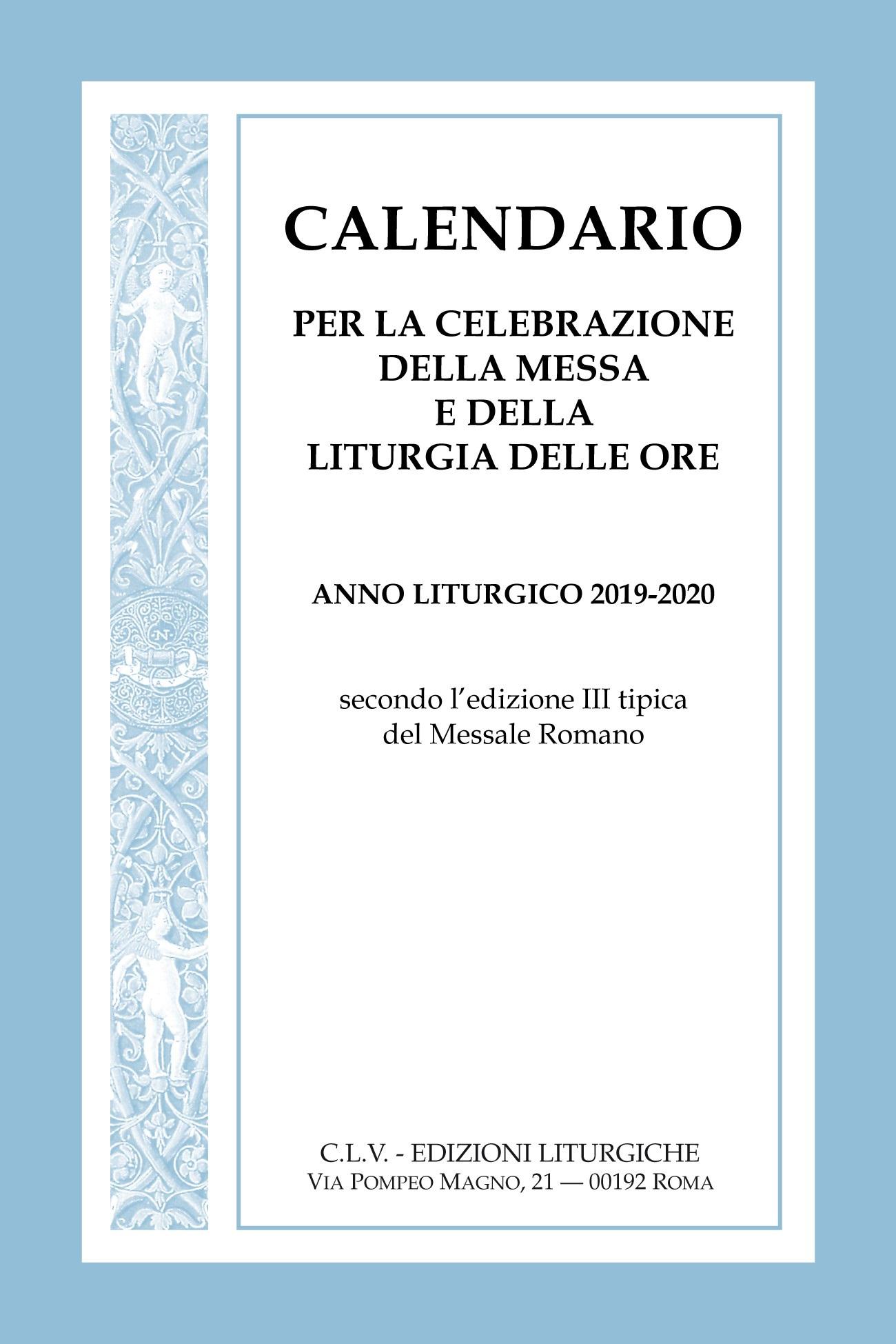 Anno Calendario 2020.Calendario Per La Celebrazione Della Messa E Della Liturgia