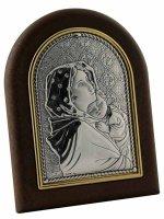 """Iconcina in lamina d'argento e legno """"Madonnina del Ferruzzi"""" - dimensioni 8x6 cm"""