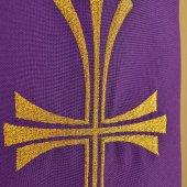 Immagine di 'Stola viola con croce dorata tripartita e stilizzata'