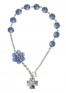 Copertina di 'Braccialetto con grani a forma di roselline in vetro azzurro mm 6,5 e argento 925'