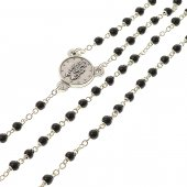 Immagine di 'Collana rosario in legno nero con Medaglia Miracolosa - grani tondi 3 mm'