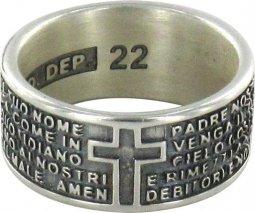 Copertina di 'Anello in argento 925 brunito con l'incisa preghiera Padre Nostro misura italiana n°22 - diametro interno mm 19,8 circa'