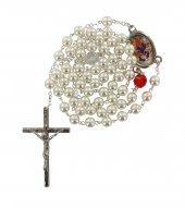 Rosario Maria che scioglie i nodi imitazione perla - Bianco