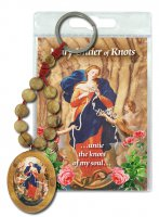 Portachiavi Maria che Scioglie i Nodi con decina in ulivo e preghiera in inglese