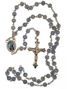 Copertina di 'Rosario in plastica azzurra + crocera Madonna'