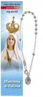 Bracciale rosario Madonna di Fatima in argento con 11 grani da 4 mm