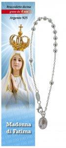 Copertina di 'Bracciale rosario Madonna di Fatima in argento con 11 grani da 4 mm'