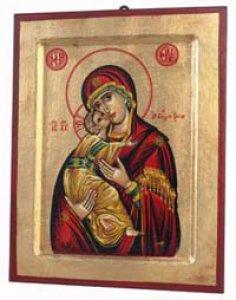 """Copertina di 'Icona in legno e foglia oro """"Maria Odigitria dal manto rosso"""" - dimensioni 23x18 cm'"""