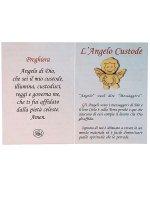 """Immagine di 'Angioletto in legno d'ulivo """"Angelo di Dio"""" su sfondo rosa - dimensioni 8x8 cm'"""