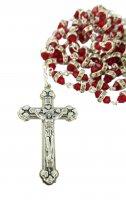 Immagine di 'Rosario semicristallo rosso con strass bianchi'