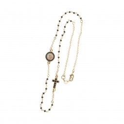 Copertina di 'Collana rosario Fidei in metallo dorato e cristallo nero - grani sfaccettati 4 mm'