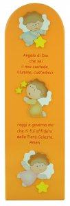 Copertina di 'Quadro Angelo di Dio con 3 angeli in legno colorato arancione - 43 x 13 cm'