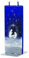 Candela natalizia in cera blu con natività 15 x 6 cm