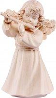Statuina dell'angioletto con flauto traverso, linea da 10 cm, in legno naturale, collezione Angeli Sissi - Demetz Deur
