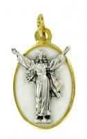 STOCK: Medaglia Cristo risorto ovale in metallo dorato con smalto blu - 2,2 cm