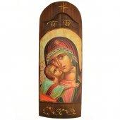 Icona in legno con Madonna della tenerezza in rilievo (h. 40 cm)