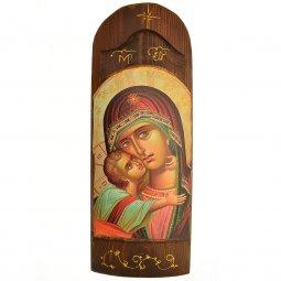 """Copertina di 'Icona in legno e in rilievo """"Madonna della tenerezza"""" - 40 x 15 cm'"""